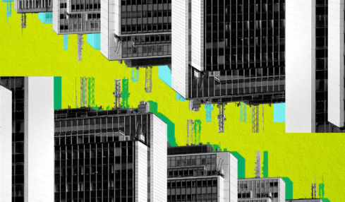 Black and white stylized image of office buildings. The image is reversed at the top of the page. The background is bright yellow and the buidlings have green and blue stylized shadows.