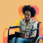 Black woman in a wheelchair on a tablet. She is in front of a stylized orange background.